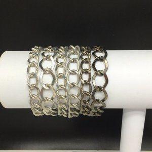 Chico's Multi Strand Silver Gray Chain Bracelet